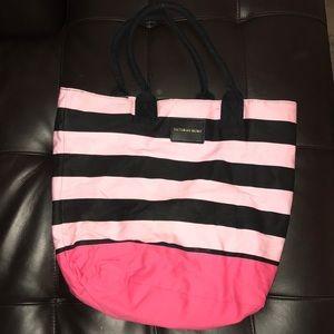 Stripe Victoria Secret Tote Bag